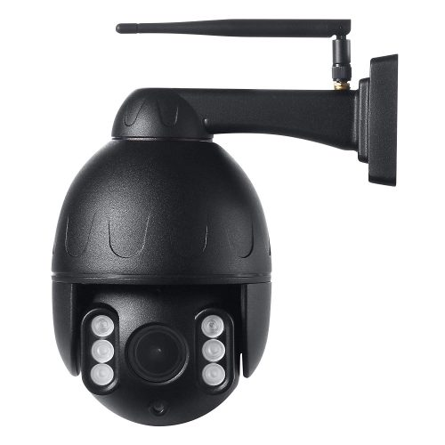 Black 5X Optical Zoom Auto Focus Pan Tilt & Zoom Outdoor WIFi Camera with Two-Way Audio