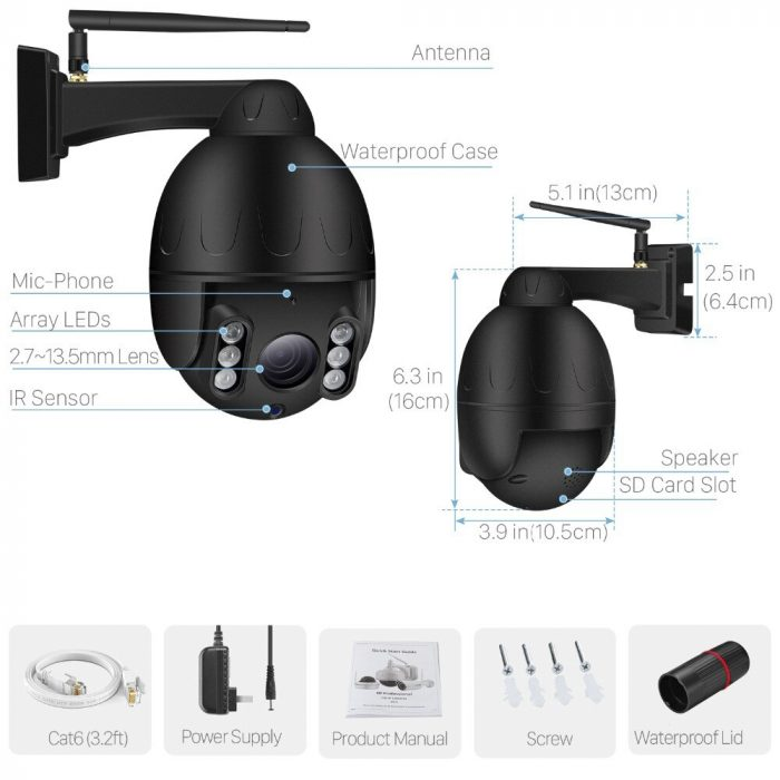 ptzlink black 5mp ptz wifi camera 5x optical Zoom packing list
