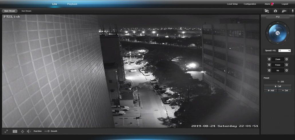 Live night vision image from our PTZlink camera